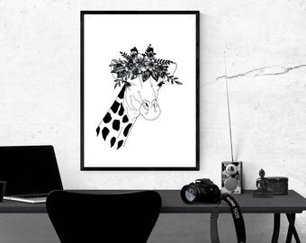 Minimal, Animal, Line, Drawing, With, Botanical, Flower, Crown, Giraffe