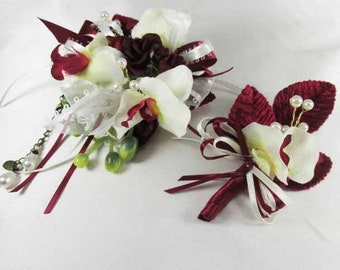 Small Burgundy Rose and Ivory Orchid Lace Bracelet Wrist Corsage and Boutonniere Prom Set or Father Daughter Dance Set