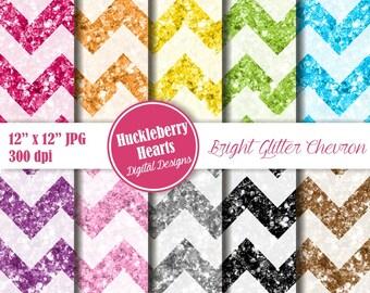 Glitter Chevron, Glitter Chevron Paper, Digital Glitter Paper, Digital Glitter, Bright Glitter Chevron