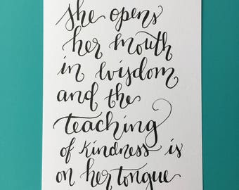 5x7 Hand-lettered Verse, Proverbs 31:26, She opens her mouth in wisdom