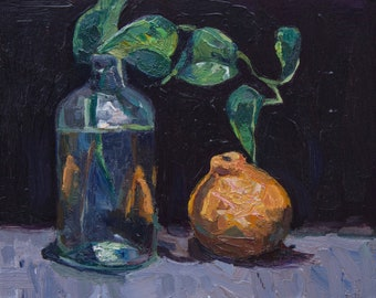 Original Still Life Oil Painting 8x10 on Panel, Sumatra and Bottle 2018