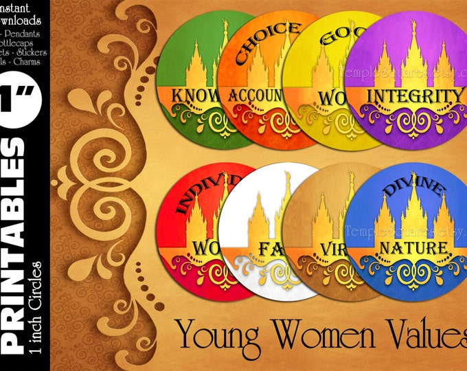 """YW Young Women Values Printable 1"""" inch circles. matches """"Press Forward"""" mutual 2016 theme charms, stickers, or necklace kits"""
