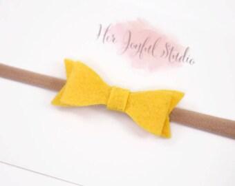 baby headbands, small baby bows, infant headband, baby girl bows, felt bows, small bows, toddler bow nylon headband, yellow bow, GOLDEN