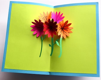 Pop-Up Mother's Day Card - Flower Bouquet
