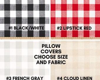 Black Red Gray Linen White Plaid Buffalo Check Pillow Cover - Invisible Zipper Closure, Farmhouse Style Pillow Cover - Check Pillow Cover