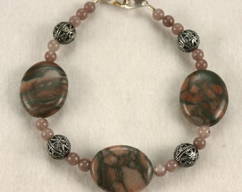 Canyon Marble, Pewter and stone bead braclet
