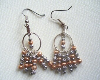 Silver Metal and Gold Glass Beaded Fringe Earrings