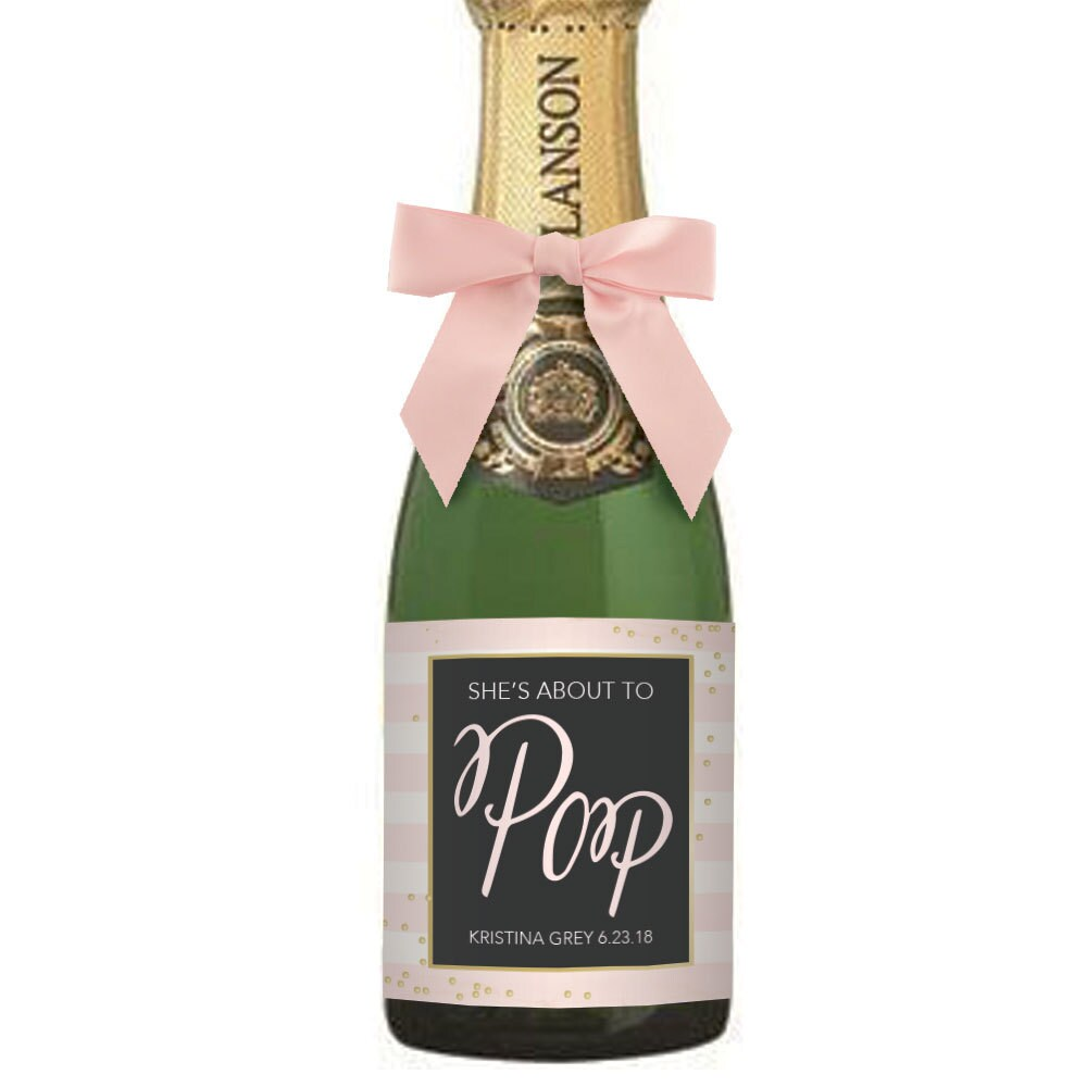 Baby Shower Mini Champagne Label She\'s About To Pop