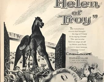 1956 Movie Poster - Helen of Troy - The face that launched 1000 ships