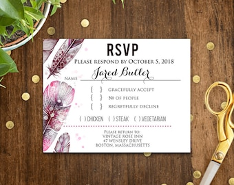 Rustic Wedding RSVP Cards Printable Rsvp Postcard Template Pink Gray Feathers Wedding Rsvp Wedding Response Card Editable Instant DOWNLOAD