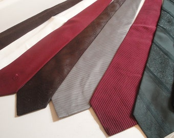 Mens Vintage Necktie Solid Textured set of 8