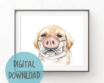 Yellow Lab Puppy Dog Watercolor PRINT - Instant Download, Printable Art, Pig Illustration, Nursery Art, Downloadable, Labrador Retriever