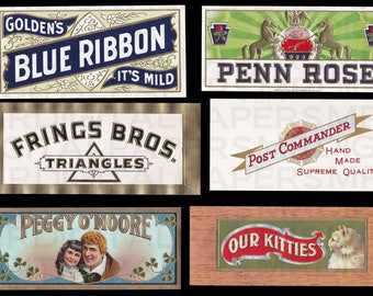 Antique New Old Stock / Cigar Labels Lot of 6 / 16 x 22 Digital Paper Download / Scrapbooking Supplies / Instant Download / High Resolution