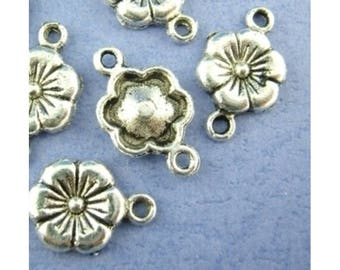 Connector, flower, flowers, charm, pendant, silver