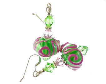 Lavender Lampwork Earrings, Artisan Earrings, Glass Bead Earrings, Dangle Earrings, Gift For Her, Beadwork Earrings, Green Lampwork Jewelry