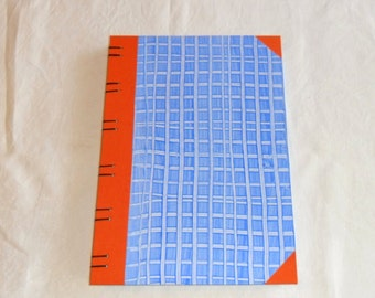 Diary A4-Stripes Blue//Guestbook//Sketchbook//Paste paper//Coptic Binding//Gift