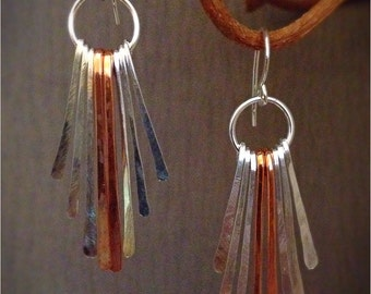 Sterling Silver and Copper Fringe Earrings