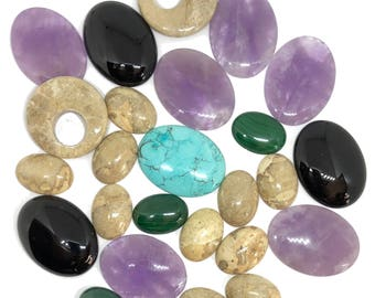Assorted Semi Precious  Stones, 25 Piece, Vintage Jewelry Supplies, Focal Stones, Cabochons, Oval, B'sue Boutiques, 25x18 to 40x30,Item01344