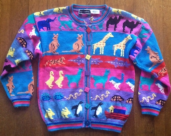 Vintage 1980s Animal Intarsia Sweater Christine Foley