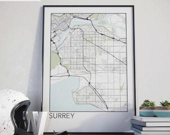 Surrey, BC Minimalist City Map Print