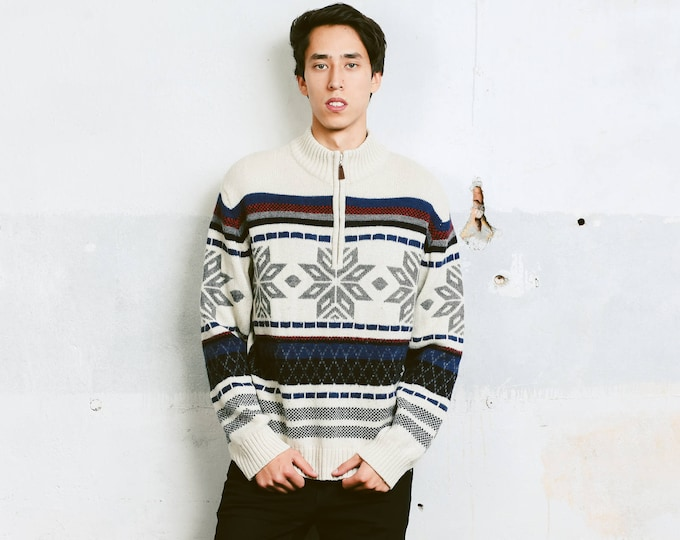 Vintage Mens Sweater . Men's Knit Winter Sweater 1 3 Zip Sweater Warm Jumper Holiday Sweater Zip Up Pullover . size Medium M