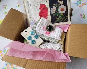 Mystery Box-Garden-Botanical Junk Journal kit-Botanical Ephemera-Vintage Jewelry-buttons-Embroidery-lace-Fabric bundle