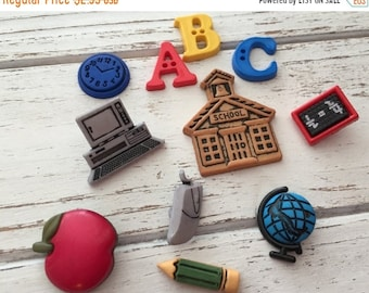 """SALE School Buttons, Packaged Novelty Button Assortment by Buttons Galore, """"ABC's"""" Style 4047, Shank Back, Sew Thru, and Flat Embellishment"""