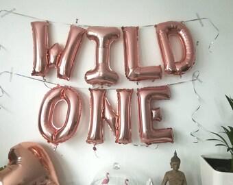 Giant WILD ONE  Gold foil letter balloon  16