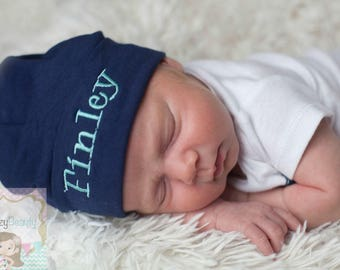 Newborn Hospital Hat, Monogrammed Hat, Baby Hat, Embroidered Personalized Hat, Custom Name,  ANY COLORS Baby Boy Girl