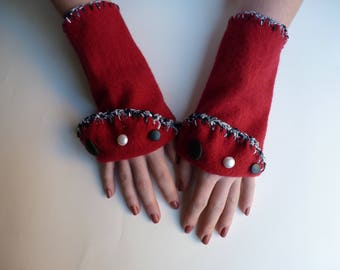 Handmade Red Wool Wrist Warmers with Vintage Buttons