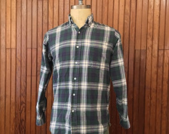 LL Bean Small Flannel Shirt Men's Plaid 100% Cotton Made In USA Vintage Faded