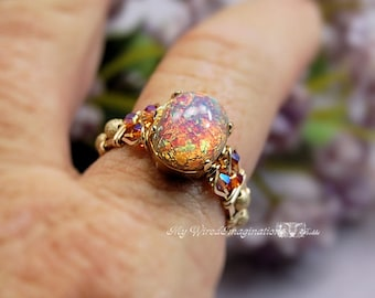 Pink Opal Ring Vintage West German 1950's Glass Ring Hand Crafted Wire Wrapped Original Signature Design Fine Jewelry October Birthstone