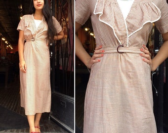 Vintage 1930s Brown Gingham Cotton Day Dress