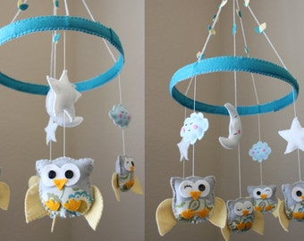 "Baby Crib Mobile - Baby Mobile - Decorative Baby Nursery Mobile - ""Baby Owls in the Circle of Love"" Design (You can pick your colors)"