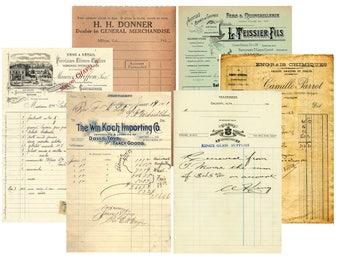 Vintage Receipt, Letterhead, Ledger, Vintage Font, Junk Journal, Printable Digital Retro Paper, Ephemera Receipts, Vintage Script