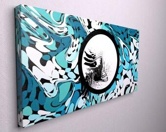 Mild blue canvas art, blue canvas decor, modern canvas art, large blue canvas , large modern canvas, modern wall art, modern wall hanging