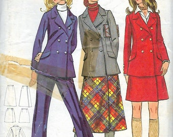 Vintage 1970's Butterick 5960 Retro Side Wrap Skirt, Straight Pants & Fitted Double-Breasted Jacket Sewing Pattern Size 12 Bust 34""