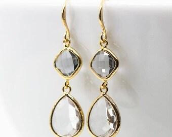 Earrings Gilded Grey crystal drops