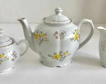 Porcelain Yellow Rose Tea Set Japan