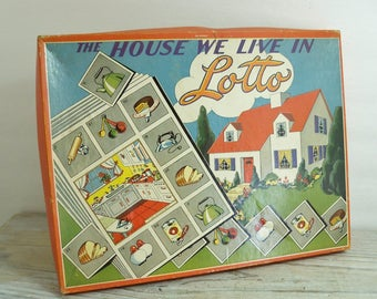 Vintage 1940s The House We Live In Lotto Board Game by Sam L Gabriel Sons and Company - A Vintage Family Board Game Made in USA