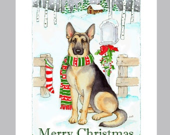 German Shepherd Dog Christmas Cards Box of 16 Cards and Envelopes