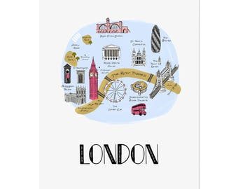 London Map / Illustrated Map / London City Art Print