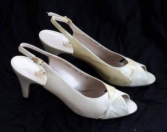 Vintage Ferragamo snakeskin and patent leather peep toe slingbacks SIZE 10 AAAA