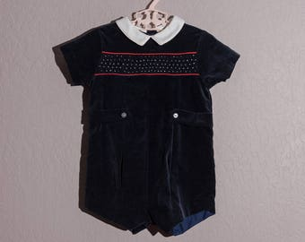 Vintage Small Creations Shortall, 1970's Boy's Blue Velveteen Smocked Romper