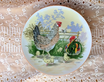 Rooster Hen Chicks Chicken Wall Plate  Signed H. Arndt *eb