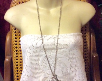 Vintage 1960's heart and key rhinestone charm necklace.