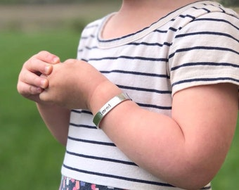 your words cuffs - custom hand stamped pewter bracelet - personalized - design your own - customized - toddler bracelet - child bracelet