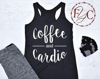Coffee and Cardio, Gym Tank. Workout Tank. Running Tank. Gym Shirt. gym tank top. Running Shirt. Workout Shirt. (F19)