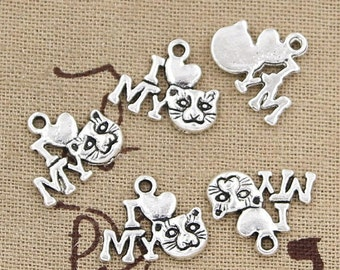 8 I Love My Cat Charms Antique Silver Tone Charm Feline Charm Bracelet Bangle Bracelet Pendants #451