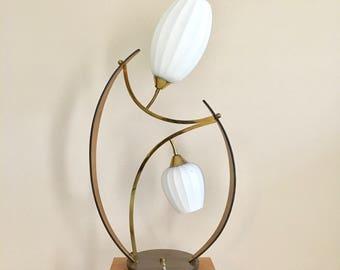 vintage large Danish modern bentwood flower lamp mcm